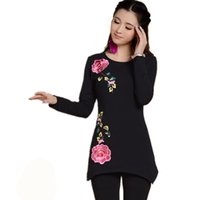 Wholesale T Shirts Basic Woman - Wholesale-Black And White Round Neck Long Sleeve Basic T Shirt Autumn New Fashion 2016 Plus Size Women Peony Embroidery Tops