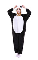 Wholesale Panda Costumes For Adults - Giraffe Onesie Pajamas Adult Teen Cute Cosplay Costumes White Black Panda Footed Pyjamas Onepiece For Women Cheap Fleece Pajamas For Juniors