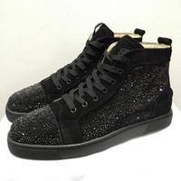 descuento vestido de zapatos al por mayor-Nuevos zapatos de moda de lujo del diseñador Hombres Mujeres Zapatos casuales Shining Rhinestone Dress Trainer Descuento calzado de cuero blanco Envío gratis