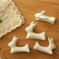 Wholesale Spoon Chopsticks Ceramic - Wholesale-Japanese Ceramic Ware Rabbit Chopsticks Rest Rack Porcelain Spoon Fork Home Decor New free shipping