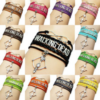 Wholesale Bow Arrow Bracelets - Wholesale WALKING DEAD Bracelets 15 Colors Hand Braided Multilayer PU Leather Bracelet With Bow And Arrow Charm Jewelry