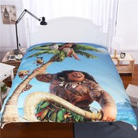 Wholesale Pieced King Quilt - Cartoon Moana Queen King Bedding Sets Quilt Cover Bed Sheet PillowCase Shams Bedding Article Christmas Gifts