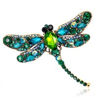 Wholesale Hijab Crystal Pins - Jewelry Blucome Green Dragonfly Brooches Corsages Jewelry Shining Crystal Vintage Brooch Crystal Big Broches Scarf Clothes Hijab Pins