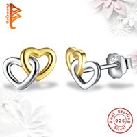 BELAWANG Moda 925 Sterling Silver Rose Heart Heart Stud Pendientes Doble Corazón Mujeres Pendientes Wedding Engagement Jewelry Gift Wholesale