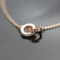 Wholesale Copper Loop - Fashion Double Loop Pendant Women Jewelry Cartir Elements Creative Design Panent Necklace for Gift