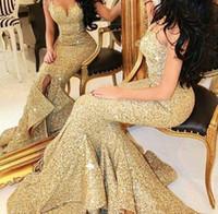 sereia querida vestido de baile querida venda por atacado-2019 Ouro Cintas De Espaguete Drapeado Babados Vestido De Noite Formal Sereia Lantejoulas Vestidos De Baile celebridade Vestidos Africanos