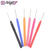 Wholesale Colorful Feather Hair Extensions - GH Angel 12pcs lot colorful micro rings loop tool loop threader pulling needle used For human hair feather extension tools