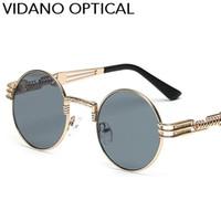 yuvarlak steampunk güneş gözlüğü toptan satış-Vidano Optik Yuvarlak Metal Güneş Gözlüğü Steampunk Erkek Kadın Moda Gözlük Marka Tasarımcısı Retro Vintage Güneş UV400