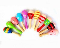 Wholesale Maracas Color - Wholesale Wooden Maracas Sand Hammer Preschool toys Baby Toddler Toys Cartoon Color Pattern C352