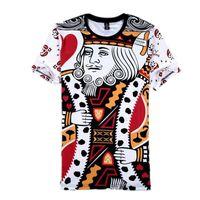 Wholesale Animal Print King Size - Wholesale- Summer Style Hip Hop T Shirt Men women Playing Cards Print 3d T Shirt Harajuku Clothes Camisa Masculina Size King Poker Shirt