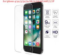 iphone açık ön cam toptan satış-Iphone5 için iphone ücretsiz 7 8 7 artı iphone 6 s 6 plus temperli cam koruyucu için iphone5s se ön temizle cam anti-paramparça