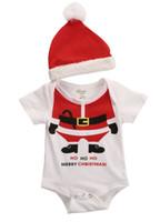 Wholesale Wholesale Girls Clothing Uk - Wholesale- 2 Pcs Newborn Baby Girl Boy Xmas Playsuit Bodysuits+Santa Hat Christmas Outfits Set Clothes UK