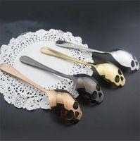 esqueleto de gelo venda por atacado-Colher de esqueleto Açúcar De Café Chá Sorvete Crânio Colheres De Aço Inoxidável Engraçado colher de talheres para a Festa de Halloween Presente de Natal