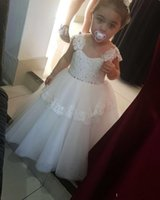 2017 Lovely Flower Gril Dresses tulle tiered Lace sequin Cute Toddler Kids Dresses Floor Length Ball Gowns Платье для девочек без рукавов