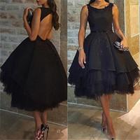 siyah çay uzunluğu gece elbiseleri toptan satış-Abendkleider 2017 Seksi Siyah Backless Balo Kısa Abiye Kolsuz Çay Uzunlukta Balo Elbise Örgün Parti Elbise Robe de soiree