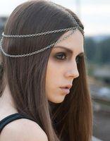Wholesale Accesories Women Free Shipping - Women Hair Jewelry Beach Multi Layer Metal Gold Silver Plated Head Chain Headbands Tassel Bindi hair accesories Boho Headwear Free Ship DHL
