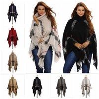 b544729144b Écharpe en poncho de plaid Tassel Fashion Wraps Femme Echarpes en tricot  vintage Tartan Hiver Cape Grid Shawl Manteaux en cardigan Sweat manteau  YYA507