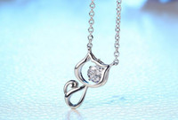 Wholesale Diamond Kitty Necklace - 925 silver Pendant Kitty cat Crystal Pendant Necklace With Elements Crystal Necklace Pendants 10pcs Free Shipping