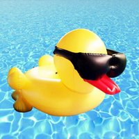 Wholesale Inflatable Yellow Duck - 190x155x95cm Inflatable Toys PVC Floats Aeration Giant Yellow Duck Wearing Sunglasses Ride On Water Floats Swimming Ring CCA6719 50pcs