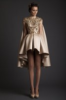 gold custom made wedding dress prices - short ball gown satin wedding dresses 2017 krikor Jabotian dresses with gold lace appliques sequin beaded
