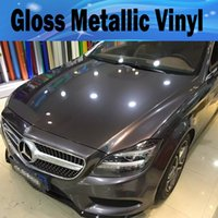 Wholesale cars candy - Gunmetal Metallic Gloss Gray Vinyl Car Wrap Film With Air Release Antrazit Glossy Grey candy Car Covering stickers SIZE: 1.52*20M  5x67ft