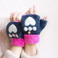Wholesale Winter Glove Cheapest - Cheapest! Cat Plush Paw Claw Glove Novelty Halloween soft toweling lady's half covered gloves mittens free shipping 10pairs