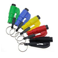 Wholesale Seatbelt Cutter Hammer - Mini 3 in 1 Seatbelt Cutter Emergency Glass Breaker Key Chain Tool Smart AUTO Emergency Safety Hammer Escape Lift Save Tool SOS Whistle