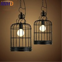 Vente en gros - IWHD Iron Led Pendant Light Fixyures Style Loft Vintage industriel Retro Lights Bird Cage Pendentif Lampe Black Kitchen Lamparas