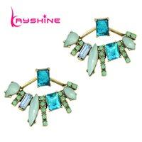Wholesale Cloves Flower - New Crystal Stud Earrings Luxury Blue Green Ear Jackets Geometric Flower Earrings For Women Clove Catkins