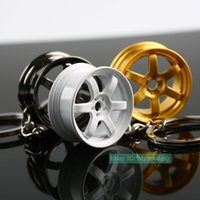 Wholesale rims keychain - 5PCS Lot TE37 Style Wheel Rim Hub Keyring keychain Key Ring Key chain Keyfob Keyfinder Zinc Alloy Men Women Bag pendent Car Truck