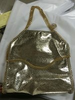 Wholesale 37cm Size - crack golden 37cm MID Size stella falabella shaggy deer PVC 3 chains luxury brand shoulder tote bag