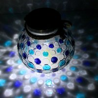 Wholesale Painting Garden Home - The sale of Sun jar jar with rope handle glass solar pure hand-painted garden decoration Nightlight holiday gifts