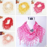 Wholesale Triangle Scarves For Women - Lace Scarfs for Women 2017 Newest Fashion Ladies Flower Triangle Lace Scarves Female All-match Tassel Shawls and Scarves Accessories 302