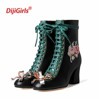 Wholesale Size 42 Wedges - 2018 Luxury Women's Ankle Boots Witnter Shoes Woman High Heels Women Lace Up Genuine Leather Motorycle Boots Plus Size 35-42
