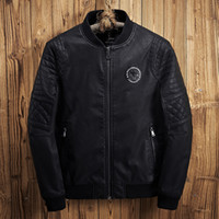 Wholesale Overcoat Pu - Male Motorcycle Jackets Winter Coats PU Washed Leather Jackets Warm Thick Overcoat Waterproof Windproof Outwear Outdoor Tops New Fashion