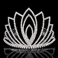 Wholesale Plastic Animal Horn - Beautiful Shiny Crystal Bridal Tiara Women Party Pageant Silver Plated Crown Hairband Cheap Wedding Accessories 2017