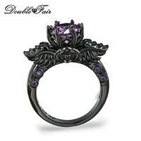Wholesale Skull Punk Ring Black - Punk style Black Skull Ring Purple Crystal Black Gold Color Fashion Cubic Zirconia Jewelry Punk Skeleton For Women Party Wholesale DFR623