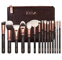 Wholesale Make Up Setting Powder - NEW ZO-EVA 15 PCS ROSE GOLDEN COMPLETE MAKEUP BRUSH SET Professional Luxury Set Make Up Tools Kit Powder Blending brushes
