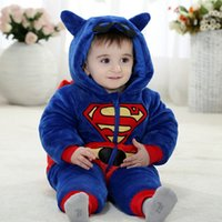 Wholesale Baby Boy 12 Months Winter - Newborn Clothes Spiderman Superman Batman Onesie 2017 Baby Romper Costume Hooded Flannel Infant Romper Toddler Jumpsuit Boys Girls Clothing