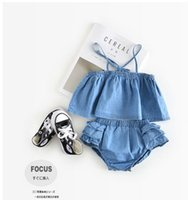 Wholesale Cute Boy Tank Top - INS infant outfits 2017 new summer baby girls and boys cowboy suspender tank top+ruffle shorts 2pcs sets toddler kids cute clothes C0205