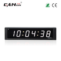 Wholesale Led Digit Clock - [Ganxin]1inch Display 6 Digit Led Clock for Indoor with Remote Control Interval Workout Countdown Timer in White Tube Digital Wall Clock