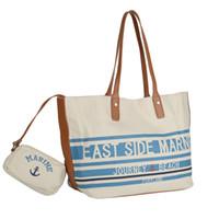 anker blau handtaschen großhandel-Blaue Streifen Strandtaschen Frau Anchor Composite Canvas Handtasche Lady Sea Reisetasche Casual Totes Haspe Schultertasche Tote Wallets HD-70052
