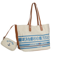 bolsos de anclaje azul al por mayor-Blue Stripes Beach Bags Mujer Anchor Composite Canvas Bolso Lady Sea Travel Bag Casual Totes Hasp Bolsos de hombro Tote Wallet HD-70052