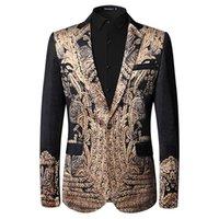 Wholesale Italian Suit 48 - black printed pleuche Blazer Men 2017 Designer Mens Blazer Jacket Italian Suits Brands Fancy Suits