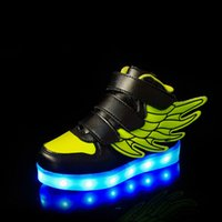 Wholesale European and American Hot Children Light shoes LED light with USB charging boy girl sport wing shoes white black pink blue green red