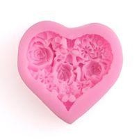 molde de moldes de sabão de silicone 3d venda por atacado-3d Silicone Rosa Floral Fondant Em Forma De Coração Baking Mold Bolo Ferramenta De Chocolate Doce Bolinhos Pastelaria Sabão Moldes Cupcake Decoração Moldes Rosa