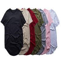 Wholesale green khaki shirts resale online - Fashion men extended t shirt longline hip hop tee shirts women justin bieber swag clothes harajuku rock tshirt homme