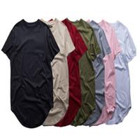 t shirts moda para homem venda por atacado-Homens da moda estendida camiseta longline hip hop camisetas mulheres justin bieber swag roupas harajuku rock tshirt homme frete grátis
