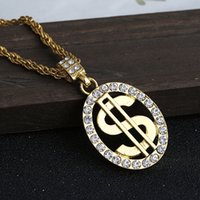 Wholesale Dollar Signs Necklace - Hot Holder Round Dollar Money Money Signed Chain With Rhinestone 18k Gold Hip Hop Rap Singer Fashion Jewelery Men's Ladies Gift Box