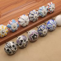 Wholesale Colorful Drawer - Funny Colorful Orchid plant print Pumpkin round shape ceramic single door knob handle pull single cabinet drawer furniture pull #445 1.1